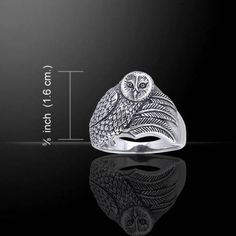 - Owl Spirit Ring - Owl Magick - Owl Medicine ring in .925 Sterling Silver. - Size: Approximately 5/8 of an inch in width at it's widest point. - This item was designed by Artist Ted Andrews and creat