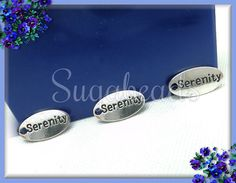 6 Small Silver Serenity Stamped Charms  Stamped Tags by sugabeads