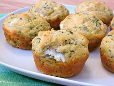 Herbed Goat Cheese Muffins are a savory, herb-y muffin stuffed with goat cheese. The muffins are almost biscuit-like in texture, and the goat cheese center is a delightful contrast with the green . Savory Muffins, Cheese Muffins, Muffin Recipes, Baking Recipes, Brunch Recipes, Bread Recipes, Keto Recipes, Vegetarian Recipes, Good Food