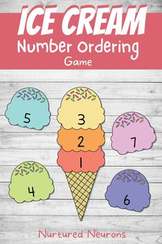 Practice ordering numbers and help develop counting skills with this summer themed math game! Your little learners will need to use their number recognition and ordering skills to correctly sort out those scoops! Grab this summer math game over at Nurtured Neurons! #summerlearning #icecreams #preschoolprintables #kindergartengames #kindergartenmath #math #summermath #numberordering #counting #printablegames Kindergarten Games, Math Games, Maths, Preschool Printables, Preschool Activities, Parenting Toddlers, Parenting Hacks, Math For Kids, Diy For Kids