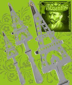 Kopia av antik absintsked. Gjord av förkromat stål. Posters, Vintage, Postres, Banners, Billboard, Poster, Primitive