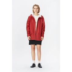 Rains Jacket - Scarlet (€80) ❤ liked on Polyvore featuring outerwear, jackets, raincoats, rains jacket, rain jacket, light weight jacket, light weight rain jacket and urban jackets