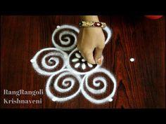 Simple Kolams for Beginners Simple Rangoli Designs Images, Rangoli Designs Latest, Rangoli Designs Flower, Rangoli Border Designs, Rangoli Patterns, Rangoli Ideas, Rangoli Designs With Dots, Rangoli With Dots, Beautiful Rangoli Designs