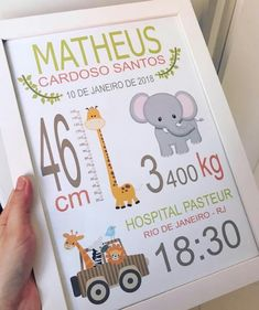 plana Nascimento Diy And Crafts, Crafts For Kids, Preschool Crafts, Birth Announcement Sign, Baby Posters, Baby Frame, Baby Birth, Baby Scrapbook, Kids Corner