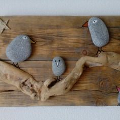 Tableau bois, bois flotté et oiseaux galet