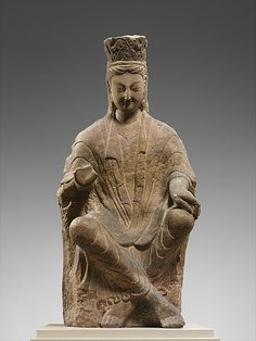 A Bodhisattva (Buddhist enlightened being), probably Avalokiteshvara (Guanyin), from the Yungan Caves, Shanxi Province, China.  Northern Wei dynasty (386–534 AD).  Metropolitan Museum of Art, NYC.  Date:      ca. 470–80  Culture:      China  Medium:      Sandstone with traces of pigment