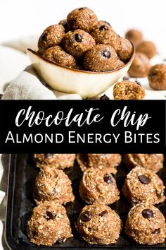 These Almond Butter Chocolate Chip Energy Bites are a easy no bake recipe that's really popular with kids! They're perfect to make for meal prepping because they freeze well for over a month. That way you always have a healthy snack on hand, and they taste like cookie dough! #energyballs #energybites #blissballs #healthy #glutenfree #dairyfree #healthysnack