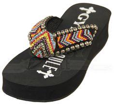 e4f4700c552b Gypsy Soule® Ladies  Wedge Beaded Sun Down Flip Flops Western Boots