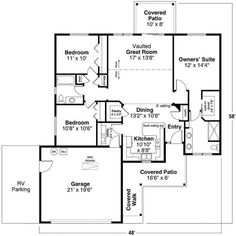 The 1-story single family home's floor plan has a great layout in 1383 square feet of heated and cooled living space #houseplan #family Traditional House Plans, First Story, Ranch Style, House Floor Plans, Square Feet, Living Spaces, Home And Family, Flooring, How To Plan