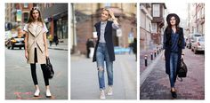 Жилет с джинсами и кроссовками