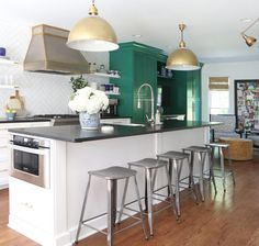 5 Shades of Green for Your Kitchen Cabinets - Emily A. Clark Black Granite Kitchen, Black Granite Countertops, Green Kitchen, Black Kitchens, Kitchen Countertops, Kitchen Cabinets, Kitchen Facelift, Kitchen Breakfast Nooks, Colorful Interiors