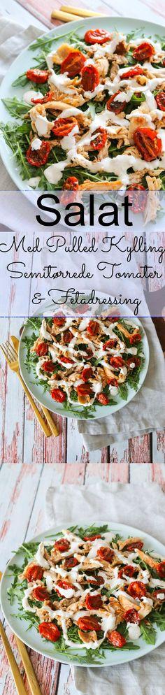 Skøn Salat Med Kylling, Semitørrede Tomater Og Fetadressing - Lækker salat med hjemmelavet pulled kylling, hjemmelavede semitørrede tomater og en skøn hjemmelavet fetadressing! Denne salat er god til frokost eller let aftensmad med brød til. #Salat #Kylling #Frokost