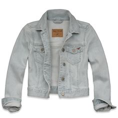 Hollister Co Fountain Valley Denim Jacket ($60) ❤ liked on Polyvore featuring outerwear, jackets, tops, casacos, jean jacket, button up jacket, cotton jacket, cropped cotton jacket and embroidered jean jacket