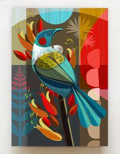 New Zealand Tui in Flax, print, Arte Madi, Art Mural, Wall Art, Art Du Collage, New Zealand Art, Nz Art, Bird Art, Oeuvre D'art, Art Drawings