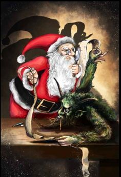 Santa and Krampus checking their lists...