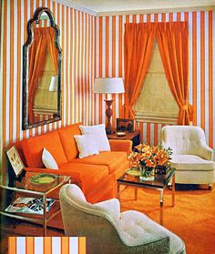What,s old, is new again. Orange painted walls, furniture and decor from late 60s. From a 1966 Woman's Day magazine, Orange and white striped walls, orange couch, orange curtains, black mirror, glass coffee table, glass side table