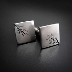 Square root - silver cufflinks handsawn by Abi Cochran. / I love puns! :) These would be great for a male math teacher.