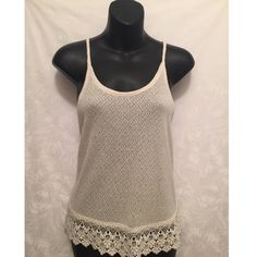Cream White Top with Crochet Bottom Wear this cream white top to any casual date or gathering! Beautiful crochet bottom. In excellent condition. Mossimo Supply Co. Tops
