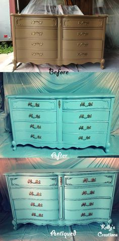 French Provincial dresser painted in a tropicana cabana blue before and after pictures. Refinished by Kelly's Creations. https://www.facebook.com/pages/Kellys-Creations-Refinished-Furniture/524028237619793