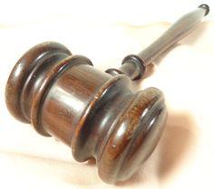 Vintage Mahogany Wood Judges Gavel Lawyer Auctioneer's Hammer Gavel Nice Design