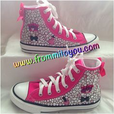 Hot Pink Glo Custom designed Converse by From Mi To You. #junkchucks #bows #girls www.frommitoyou.com