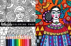 Frida Kahlo coloring page art Mexican Folk Art by HeatherGallerArt