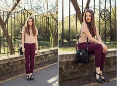 New Yorker Lace Top, Zara Burgundy Pants, Pull & Bear Jelly Shoes, Persunmall Bag, Zero Uv Sunnies