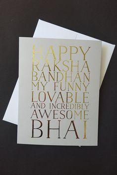 Items similar to Indian Raksha Bandhan Greeting Card Printable - Funny Lovable Bhai -- Brother Bhaiya Rakhi Day card, Rose Gold, Silver, or Gold Foil on Etsy Raksha Bandhan Cards, Raksha Bandhan Quotes, Rakhi Wishes, Printable Wall Art, Free Printable, Raksha Bandhan Greetings, Rakhi Cards, Happy Rakshabandhan, Scrapbook Designs