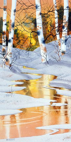 Golden Winter. Watercolor, approx 22 x 9