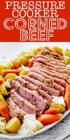 Instant Pot Corned Beef and Cabbage! Corned beef and cabbage is a classic St. Patrick's Day meal. Make it even easier by cooking the corned beef, cabbage, carrots, and potatoes in the Instant Pot or pressure cooker. Pressure Cooker Corned Beef, Pressure Cooker Recipes, Pressure Cooking, Slow Cooker, Rice Cooker, Cabbage And Potatoes, Carrots And Potatoes, Corn Beef And Cabbage, Crockpot Cabbage Recipes