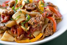 "Saucy, Italian ""Drunken"" Noodles w/ Spicy Italian Sausage, Tomatoes, Caramelized Onions, Peppers - 2 lbs Pasta Recipes, Dinner Recipes, Cooking Recipes, Sausage Recipes, Sausage Meals, Sausage Pasta, Chicken Sausage, Healthy Recipes, Healthy Eats"