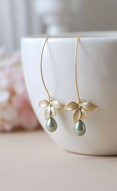 Gold Flower Sage Green Pearls Earrings. Sage Green Teardrop Pear Shaped Pearls Matte Gold Orchid Long Dangle Earrings by Melanie K.