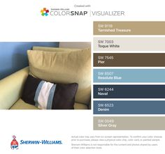 I found these colors with ColorSnap® Visualizer for iPhone by Sherwin-Williams: Tarnished Treasure (SW Toque White (SW Pier (SW Resolute Blue (SW Naval (SW Denim (SW Silver Gray (SW
