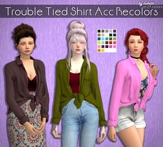 Trouble Tied Shirt Acc Recolors• Custom icon thumbnail • Standalone •  In bracelet Category • TOU • 27 Lisa colors by @simsrocuted • Mesh by @lumysims Mesh is not included! Please download it...