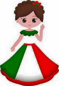 Caricatura mujer mexicana  16 de septiembre