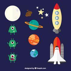 space-elements-in-cartoon-style_23-2147516140.jpg (626×626)