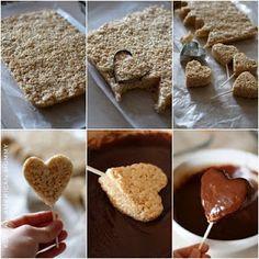 chocolate covered rice krispie treat hearts
