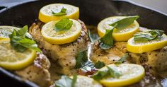 Bright And Creamy One-Skillet Lemon Garlic Chicken--changed heavy cream to plain Greek yogurt