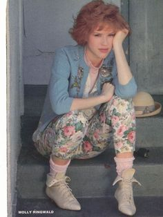 """This is an image of Molly Ringwald from the eighties movie, """"Pretty in Pink"""". It's one of my favorite movies, and I find the fashions from it creative and inspiring. Her character in the movie is extremely stylish and unique, as well as super creative and crafty."""