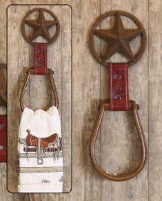 Horse stirrup towel holder, cowboy birthday?