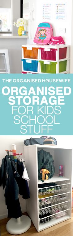 This is a fabulously organised storage unit for the kids school stuff, to keep everything in one place to help keep the school mornings stress free.