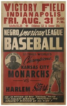 Negro American League Baseball Poster - Kansas City Monarchs with Satchell Page vs. Baseball Posters, Baseball Art, Baseball Field, Baseball Stuff, Sports Posters, Cardinals Baseball, Sports Logos, Vintage Baseball Decor, Baseball Decorations