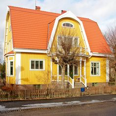 Alingsås Yellow Houses by hansn Yellow Cottage, Dutch Colonial, Colourful Buildings, Yellow Houses, Green Theme, Gambrel, Hogwarts Houses, Cottage Homes, Mellow Yellow