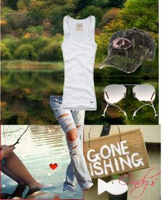 fishing outfit, created by cindycook10 on Polyvore Country Girls Outfits, Country Girl Style, Country Fashion, Girl Outfits, Casual Outfits, Cute Outfits, Summer Outfits, Camo Hats, Fishing Outfits