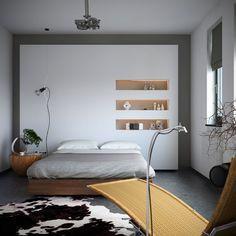 #bedroom #storagewall | Fabulous BedroomDesign Rattan Chair Animal Skin Rug Wooden Bedboard