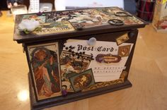 This beautiful altered box is a great idea from @Stacey McKenzie Wilson! She altered a recipe box to store her postcards in and decorated it with some paint and Steampunk Debutante! What a clever storage idea, and beautiful!