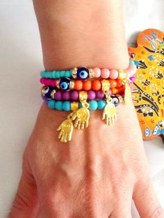 SALE HAMSA BRACELET  Bohemian Gypsy Bracelet Amulet by Nezihe1