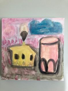 Acrylic on canvas Landscape, Canvas, Drawings, Glass, Pink, Painting, Art, Tela, Sketches