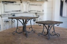 Black Scrolls Cake Stand | The Magnolia Market I like these to hold low square birdbaths or feeders.