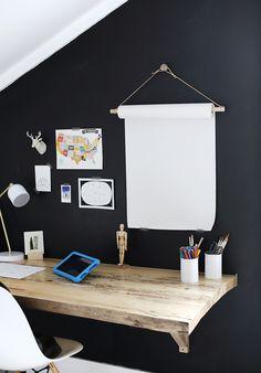 Easy Kid Organization DIY Ideas: Hanging Paper Roll #organization #organized #home #homedecor #kidsbedroom
